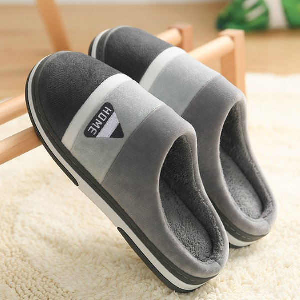 Women Warm Striped Slipper Indoors anti-slip Winter House Shoes House Bedroom Slippers Men Warm Winter Cotton Slippers