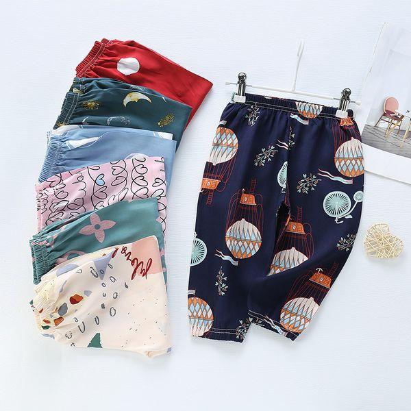 top popular New Children's Anti Mosquito Summer Thin Men's and Women's Lantern Cotton Silk Air Conditioning Beach Pants 2021