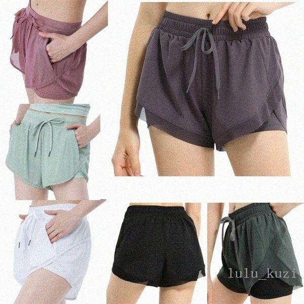best selling Lu womens loose yoga shorts pocket quick dry gym sports Leggings short pants Women style dresses 2021 QWpk#