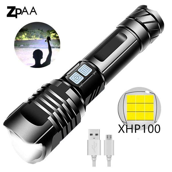 top popular New XHP100 Super Bright LED Flashlight Waterproof Tactical XHP Flashlight Powered By 26650 Battery XHP50 XHP70 XHP90 Torch Lamp 201207 2021