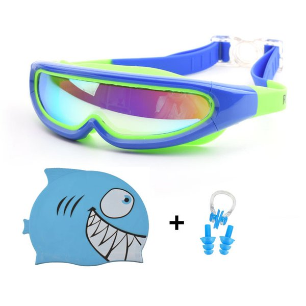 top popular Children Swimming Caps Swim Goggles Ear Plug Nose Clip Set Boy Girl Silicone Hat Pool Diving Eyewear Waterproof Swimming Glasses 2021