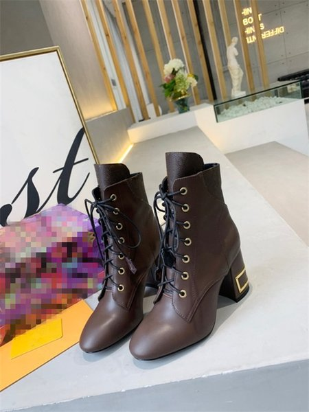 High heeled Martin boots Winter Coarse heel woman shoes luxury designer Desert leather High heel boots Large size 35-41