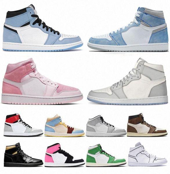 top popular 2021 Basketball Shoes 1 men women 1s High OG jumpman University Blue Valentine's Day Hyper Royal Mid Light Smoke Grey Chicago Dark Moc 80R4# 2021