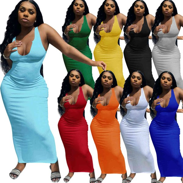 top popular Womens Spring And Summer Casual Dresses Suspender Vest Deep V-neck Slim Sexy Long Skirt Size S-2XL DHL 2021