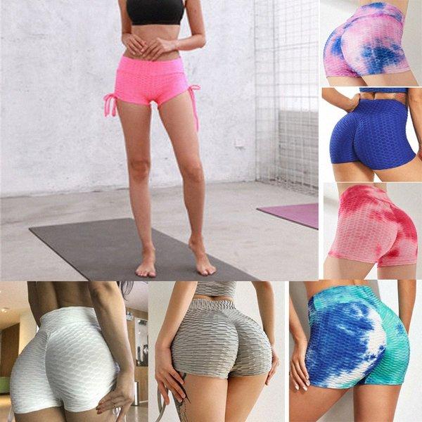 top popular Women Yoga Shorts Summer Beach Butt Lift High Waist Scrunch Textured Gym Pants Ruched Squat Workout Shorts Sport Bottom PUSH UP Hot 48OF# 2021