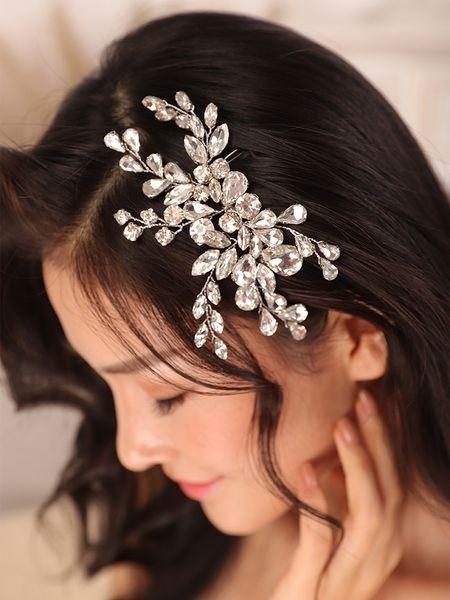 Silver Rhinestone Wedding Accessories Hair comb Trendy Women bride to be Luxury Headdress Bridal Fascinator wedding hair jewelry