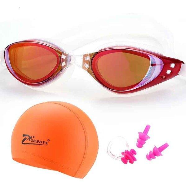 best selling Myopia Swimming goggles prescription professional Silicone Waterproof hat natacion Swimming caps earplug glasses Swim eyewear
