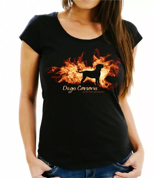 Ladies T-Shirt Dogo Canario fire and flame by siviwonder Dog Motif