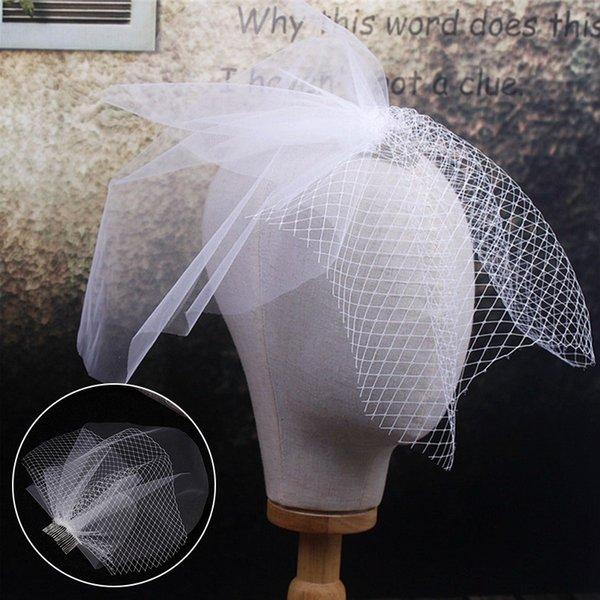 Elegant Bridal Veils White Tulle Cap Bird Cage Wedding Accessories Short Bridal Veil Accesories With Comb Bridal Accesories