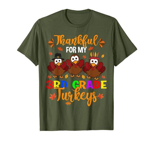 Thankful For My 3rd Grade Turkeys Funny Thanksgiving Gift T-Shirt