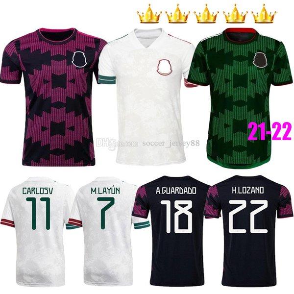 top popular Mexico soccer jerseys Copa america Camisetas 20 21 22 CHICHARITO LOZANO DOS SANTOS H.LOZANO RAUL MORENO ALVAREZ GUARDADO 2021-22 2021 football shirts Men Kids sets kit 2021
