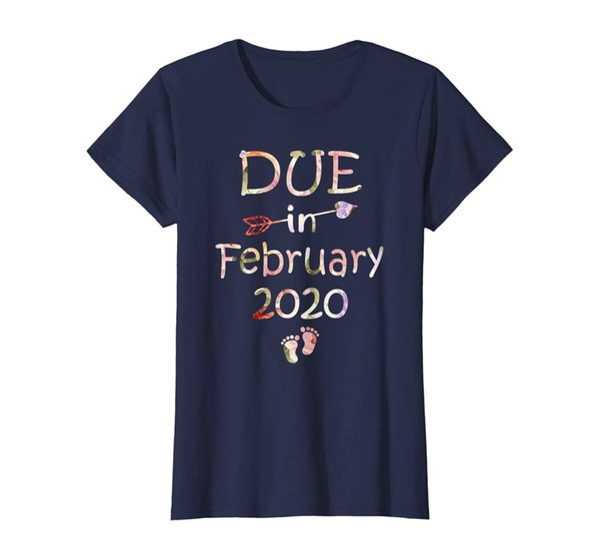 Womens Womens Pregnancy Announcement Shirt Due Date February See Yo