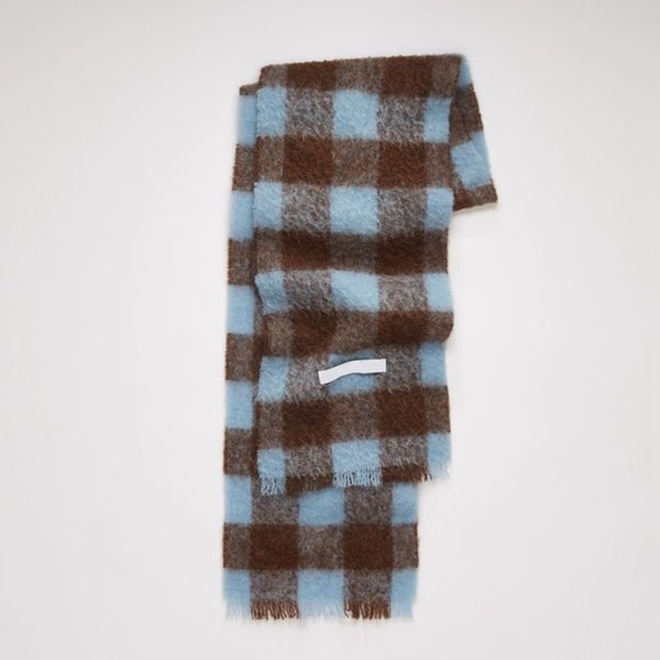 with Label - Blue Brown Grid-35x210cm