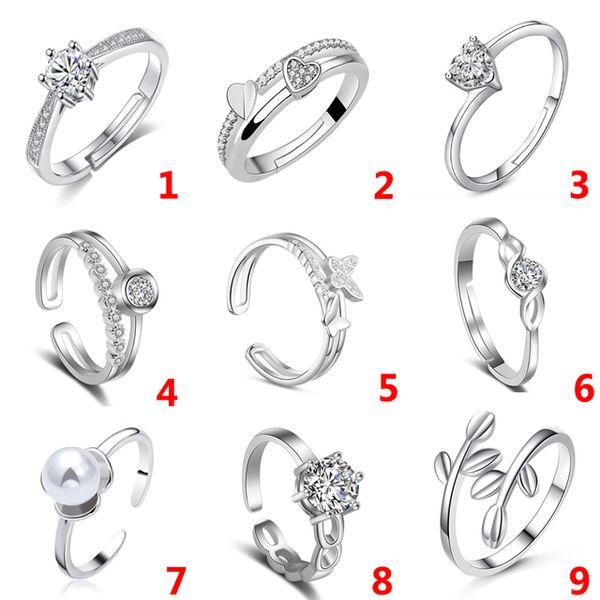Modeschmuck Ringe 9 Stil Neue Mode Offene Einstellbare Ring Kristall Perlenring Für Frauen Silber Farbe Schmuck