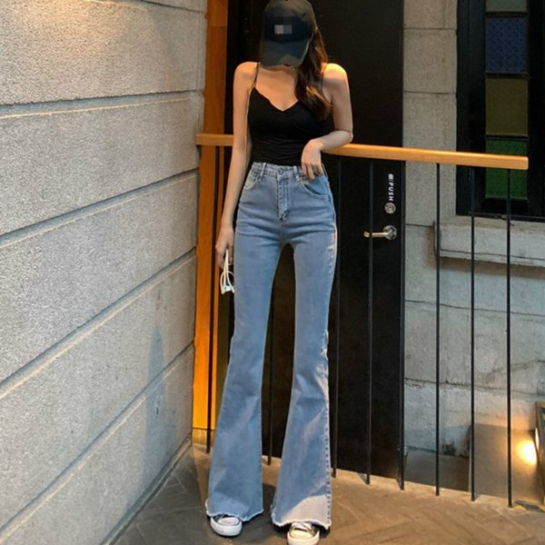 2011WQJGR Spring and Summer 2021 Elastic High Waisted Jeans Women Flare Pants Full Length Mom Jeans Blue and Black Pants Women