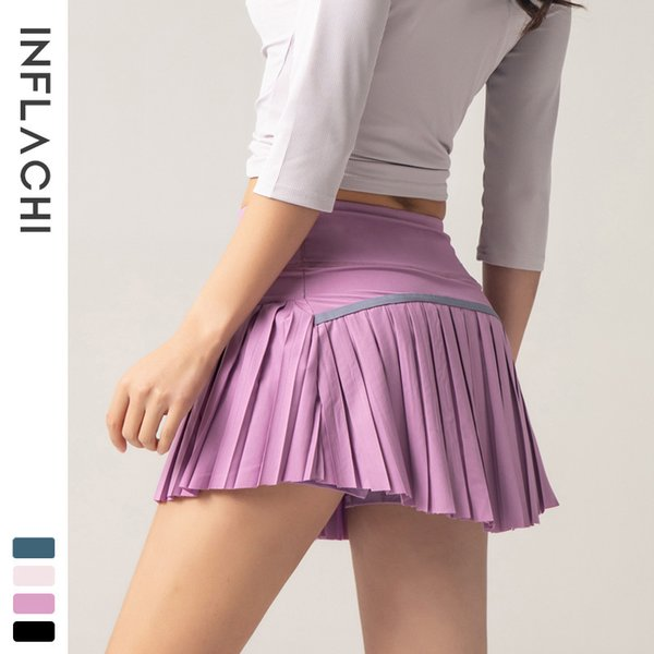 best selling Women 2 In 1 Pleated Skirts Running Shorts Gym Fitness Quick Dry Tennis Sport Yoga Short Clothes DK09
