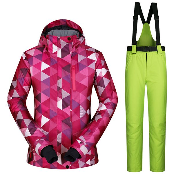 top popular New Ski Suit Female Windproof Waterproof Thicken Clothes for Women Snowboard Jacket and Pants Brand Coat and Trousers Winter Wear 2021