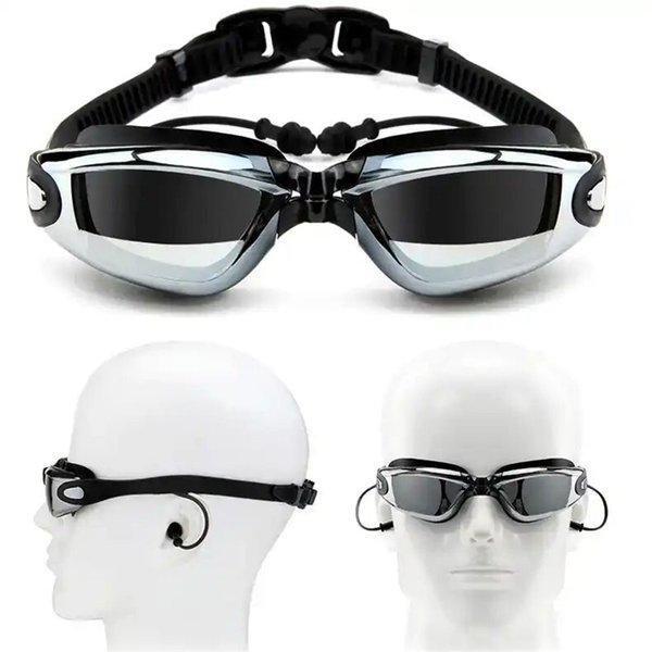 top popular Perscription Swim Glasses Myopia Adult Children Women Long Hair Silicone Caps Set Diving Eyewear Men Kids Swimming Goggles Gear 2021