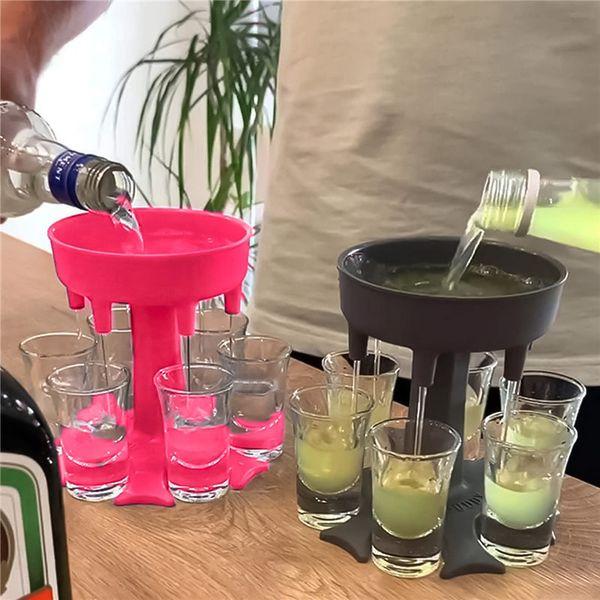 Liquor Dispenser 6 Shot Glass Wine Whisky Beer Dispenser Holder Drinking Games Tools for Christmas Home Party Bar Shot Glass