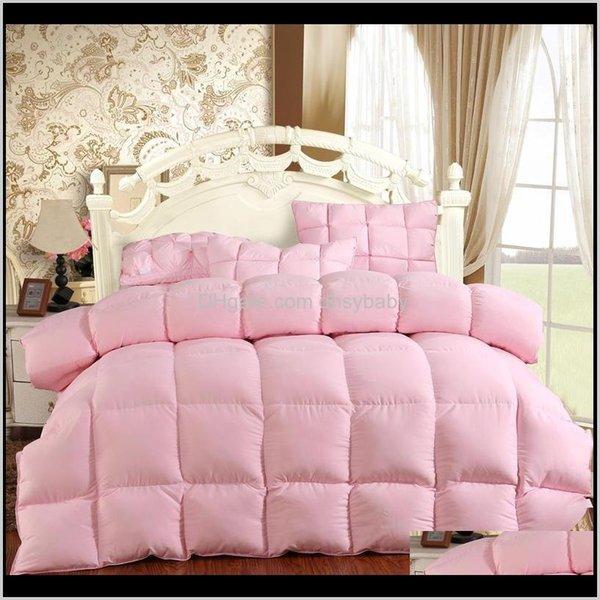 top popular Cover Set Bedding El Supplies Home & Garden Drop Delivery 2021 100Percent Goose Duvet Down Blanket Soft Feather Bed Winter Quilt 150*200 Cott 2021