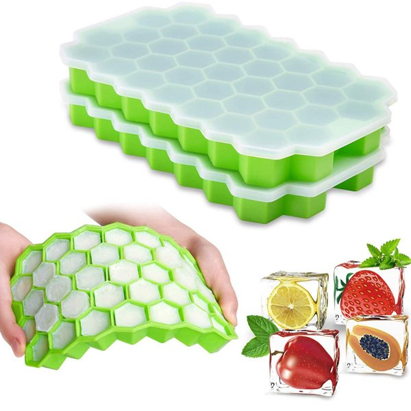 top popular Honeycomb Ice Cube Trays with Removable Lids Silica Gel Ices Coolers Cubes Mold BPA Free Homemade Silicone Model DIY Iced 2021