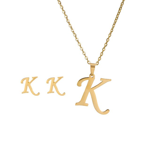 best selling 26 Letter Necklaces with earring set Stainless Steel Gold Choker Initial Pendant Necklace Women Alphabet Chains Jewelrym 918 Q2