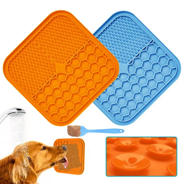 Silicone Dog Feeding Lick Mat Cat Feeder Licking Pad For Dogs Cats Dog Bath Buddy Slow Feeder Food Sucker Cats Lick Pad