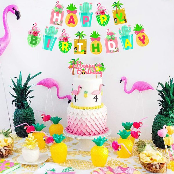 best selling Hawaii Party Banner Balloons Aloha Happy Birthday Decorations Hawaiian Party Supplies Summer Tropical Flamingo Party Favors
