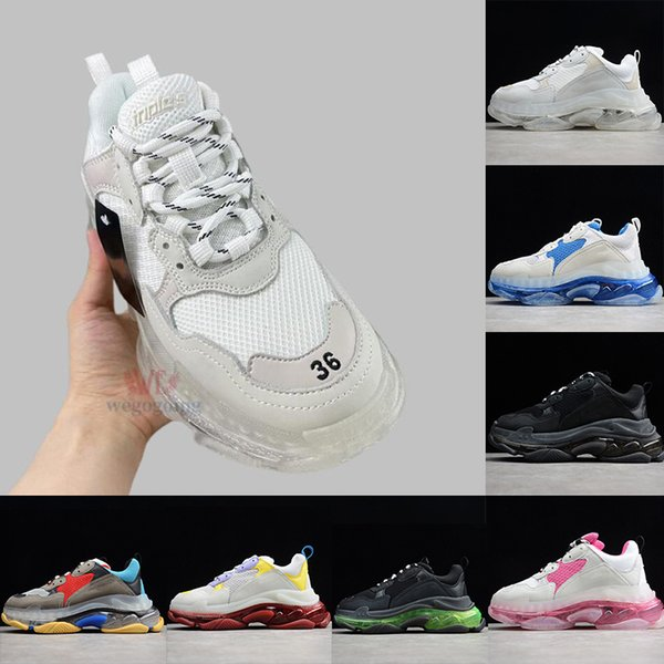 best selling 2021 Womens Dress Shoes Triple S Clear Chunky Bottom High Quality Mens Designers Sneakers Black Red White Fashion Paris Luxurys Platform Trainers Heels