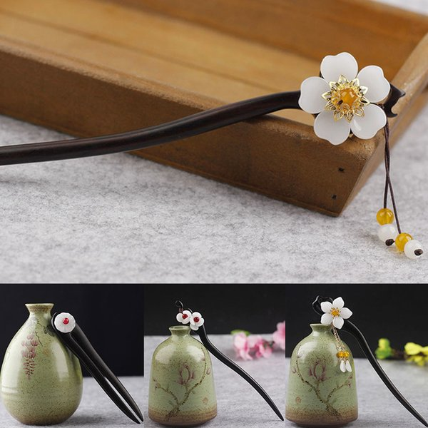 Vintage Hair Stick Pick Natural Wooden Sandalwood Chinese Style Chopsticks Ethnic Hair pin Women Hairpins Jewelry Accessories