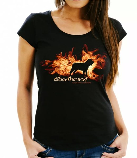 Ladies T-Shirt Bloodhound fire and flame by siviwonder Dog Motif