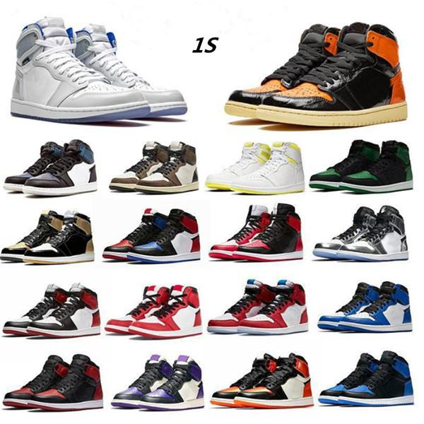 best selling Mens Jumpman OG 1s Travis Scotts Basketball Shoes Chicago Women Obsidian Lakers UNC Mid Royal Toe Black Metallic Grey Gold Pine Green Fearless