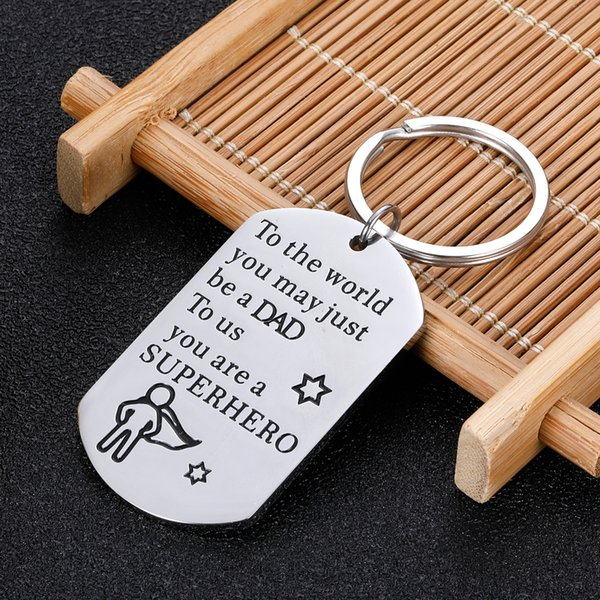 10Pieces/Lot Dad Gifts Keychain for Father Puppy Step Dad from Son Daughter Car Keychains Gift for Dad Birthday Gifts for Father