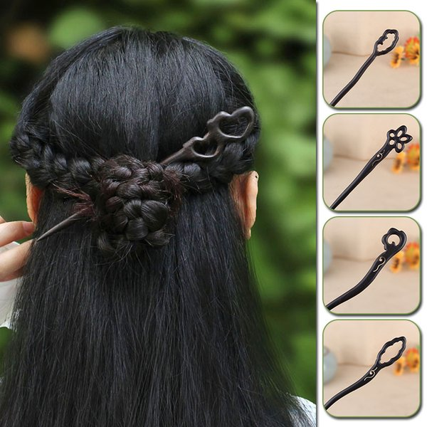 Traditional Vintage Ancient Chinese Hairpins Carved Wooden Hair Stick Hair Clips for Women Bun Holder Bridal Hair Ornaments