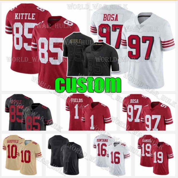 top popular 1 Justin Fields Jersey 5 Trey Lance 85 George Kittle Nick Bosa Colin Kaepernick Deebo Samuel Ronnie Lott San Francisco
