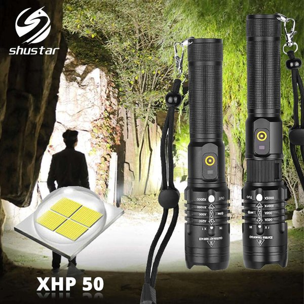 top popular Super Bright XHP50 Tactics LED Flashlight 3 Lighting Modes Zoomable Torch Use 18650 Battery Suitable for Outdoor Adventures 201207 2021