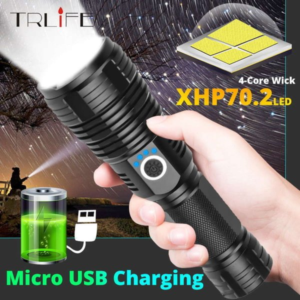 best selling Drop shipping XHP50 Upgrade most Powerful XHP70.2 LED Flashlight USB Rechargeable 26650 Waterproof Tactical Torch Zoomable Light 201207