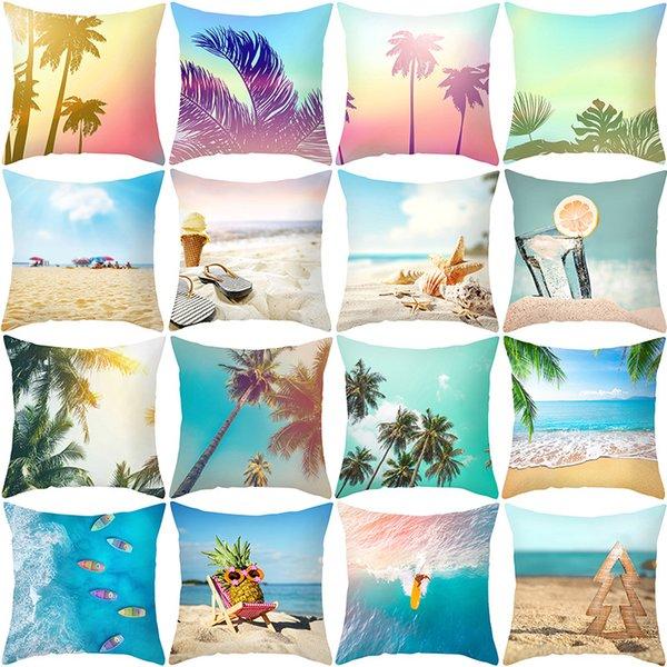 Summer ocean beach hug pillowcase cushion cover home decoration living room sofa hug pillowcase office decoration hug pillowcase