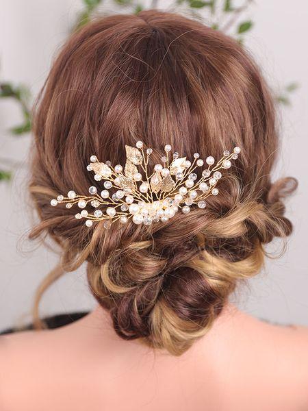 Gold Leaf Hair Comb Shiny Crystal Pearl Headdress Classic Banquet Hair Pins Beautiful Bride Wedding Accessories
