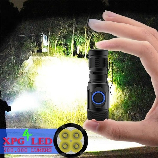 top popular NO1 most powerful mini tactical led flashlight usb cree xm-l2 led torch waterproof 18350 or 18650 battery rechargeable 201210 2021