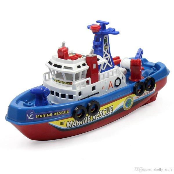 top popular Electric Boat Children Marine Rescue Toys Fire Boat Children Electric Toy High Speed Navigation Non-remote Warship Kids Gift 2021