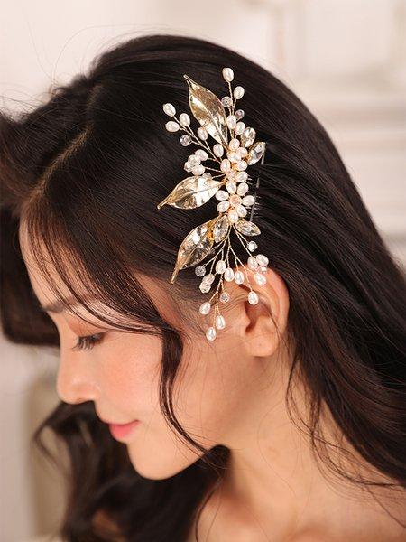 Vintage Flower Leaf Pearl Wedding hair comb Gold Headband Chic Headpieces Women Ornaments wedding accessories hair bride