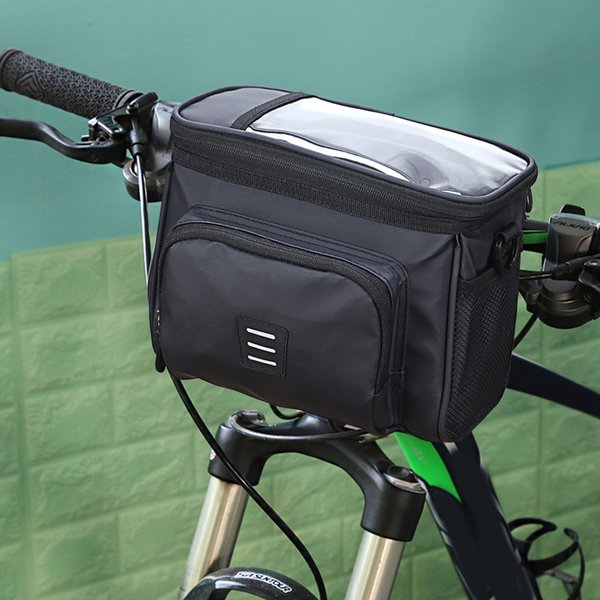 top popular Bicycle Handlebar Insulated Front Bag Phone Holder Basket Portable Cycling Touchscreen Waterproof Cycling Elements 2021