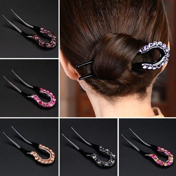Women Rhinestone Hair Sticks Hairpin Simple Classic Fashion Magic Bending Clip U-shaped Hairpin Headwear Female Hair Accessories