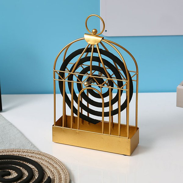 Nordic Style Mosquito Coil Holder Birdcage Shape Summer Day Iron Mosquito Repellent Incenses Rack Plate Home Decoration