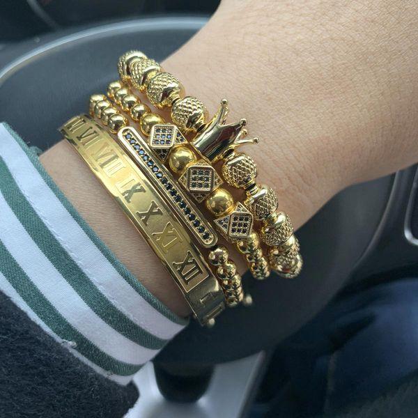 Luxury Royal King bracelet set copper beads cz charms Stainless steel bangle macrame men bracelets & bangles for men jewelryBracelets