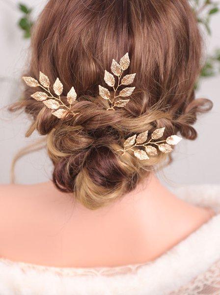 Elegant Golden Hair Pins Banquet Headwear Vintage Leaf Headdress Minimalist Wedding Hair Metal Accessories