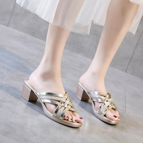 Real leather ladies high heels dress shoes party fashion girl pointed high heel Wedge sandals slippers Rhinestone 20