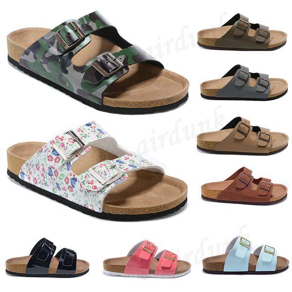 best selling [With box]2021 Women Summer Beach Cork Slipper Men flats Clogs sandals unisex casual shoes Fashion Two Buckle Slides non-slip flip flops size 35-45