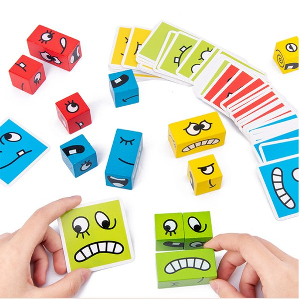 top popular Cartoon Cube Face Changing Building Blocks Board Game Wooden Puzzle Toy Anxiety Stress Relief Toys For Children Kids 2021